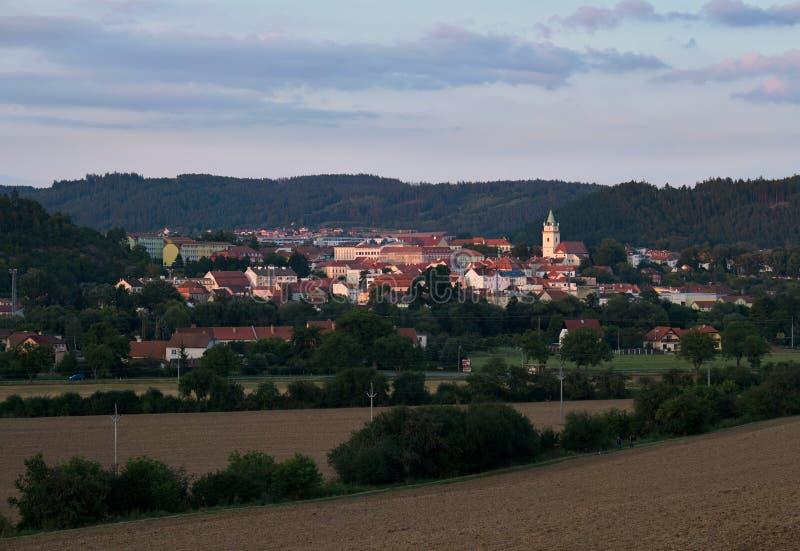 Avondmening van de stad Tisnov royalty-vrije stock fotografie