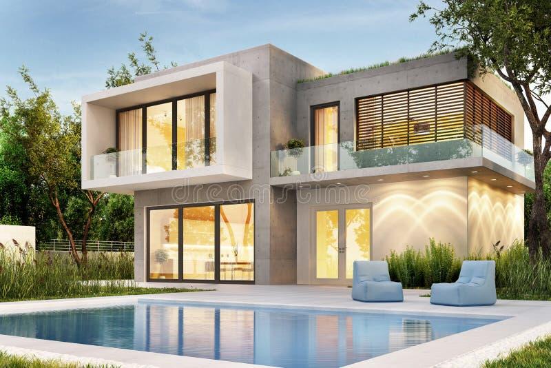 Avondmening van een modern huis met verlichting en een zwembad royalty-vrije stock afbeeldingen