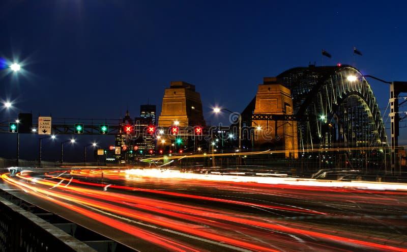 Avondspitsuur op Sydney Harbour Bridge royalty-vrije stock foto's