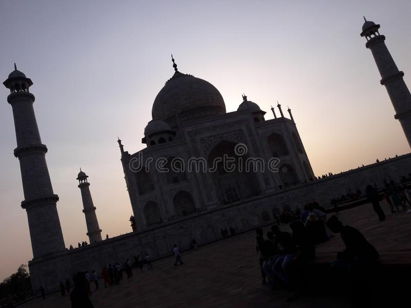 Avondtijd Taj Mahal Mooi kijk royalty-vrije stock foto