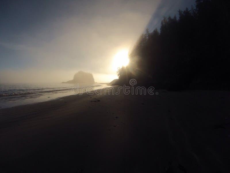 Avondzon door de mist op ver strand stock foto