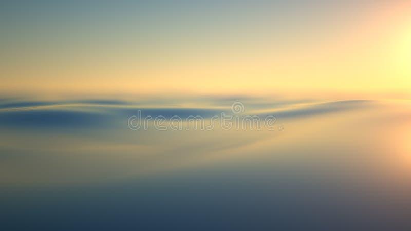 Avondzonlicht over het water stock afbeelding