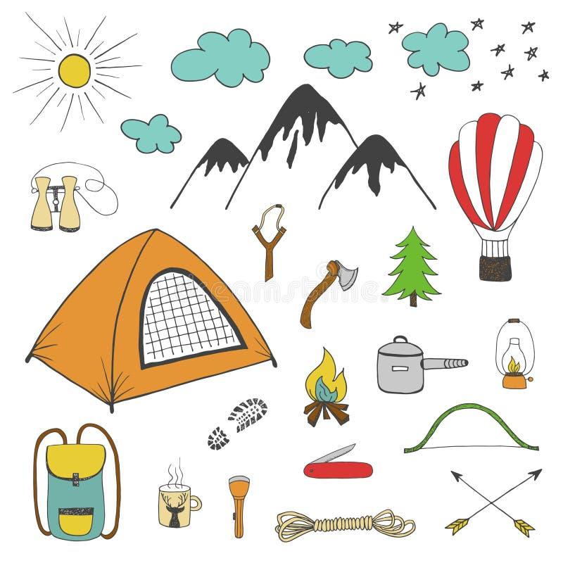 Avonturen, het kamperen, elementen van het reis de hand getrokken ontwerp stock illustratie