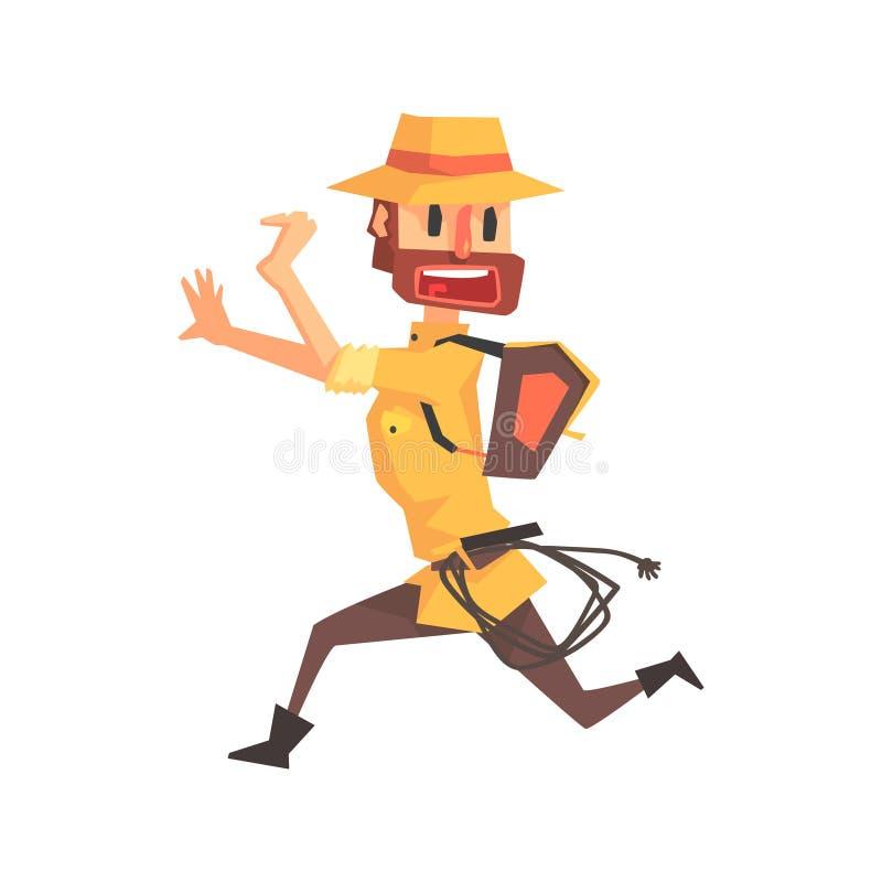 Avonturierarcheoloog in de Illustratie van Safari Outfit And Hat Running weg van Grappige Archeologiewetenschapper Series royalty-vrije illustratie