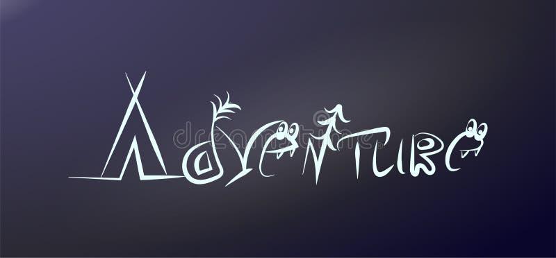 Avontuur in symbolen wordt gecodeerd dat Word voor typografieaffiche Openluchtetiket op de glassticker op de auto Het kamperen he vector illustratie