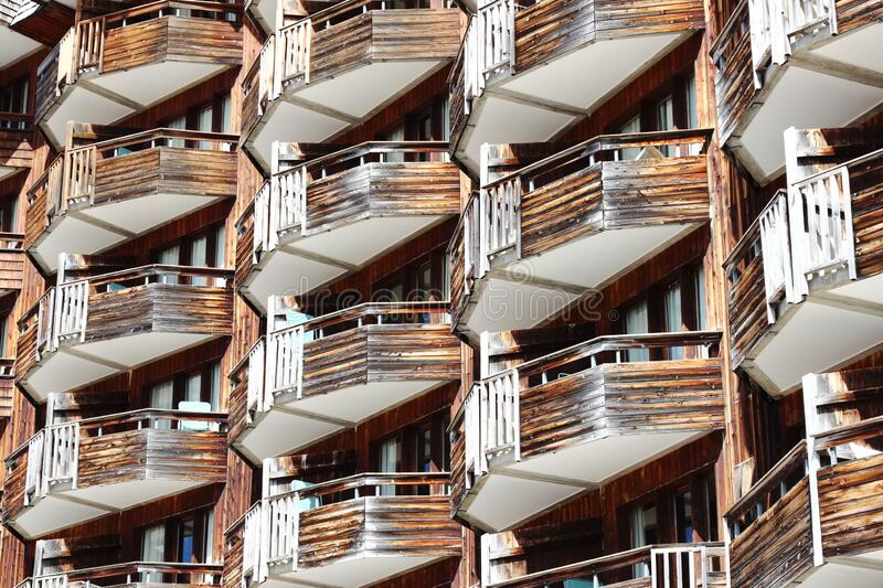 Wooden balconies of apartments in Avoriaz, France royalty free stock photography