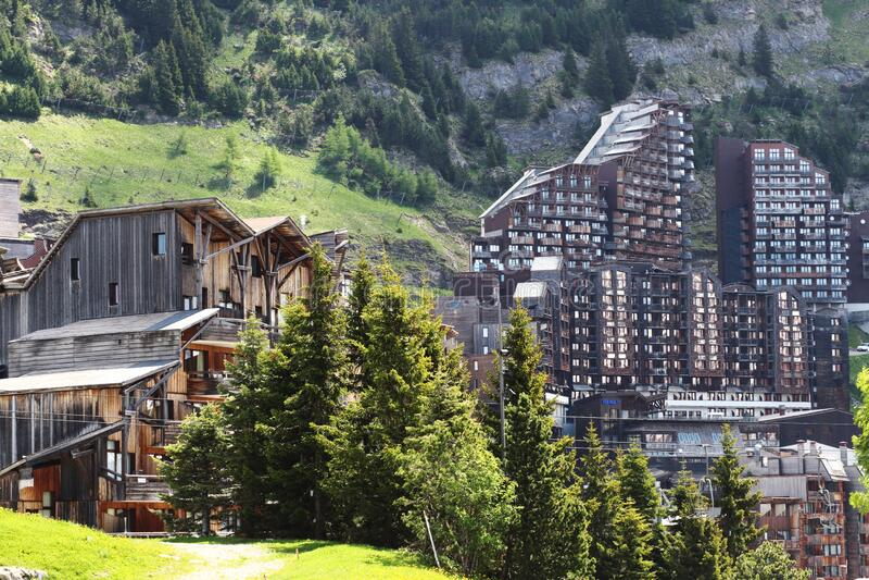 Avoriaz in summer, Portes du Soleil ski area in France stock photos