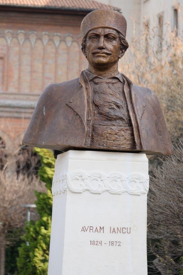 Avram Iancu, bronze bust front of the Kretzulescu church, Bucharest, Romania royalty free stock images