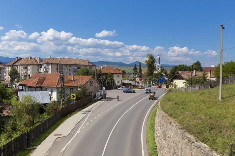 Avram Iancu main road in Toplita city stock image