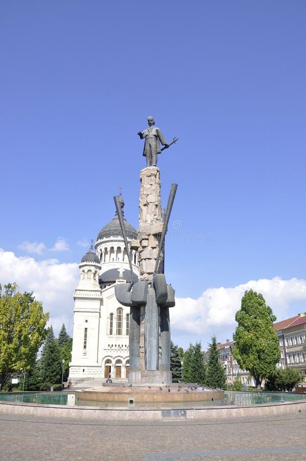 Avram Iancu Monument in Cluj-Napoca from Transylvania region in Romania stock images