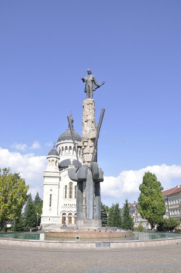 Avram Iancu Monument in Cluj-Napoca from Transylvania region in Romania royalty free stock photo
