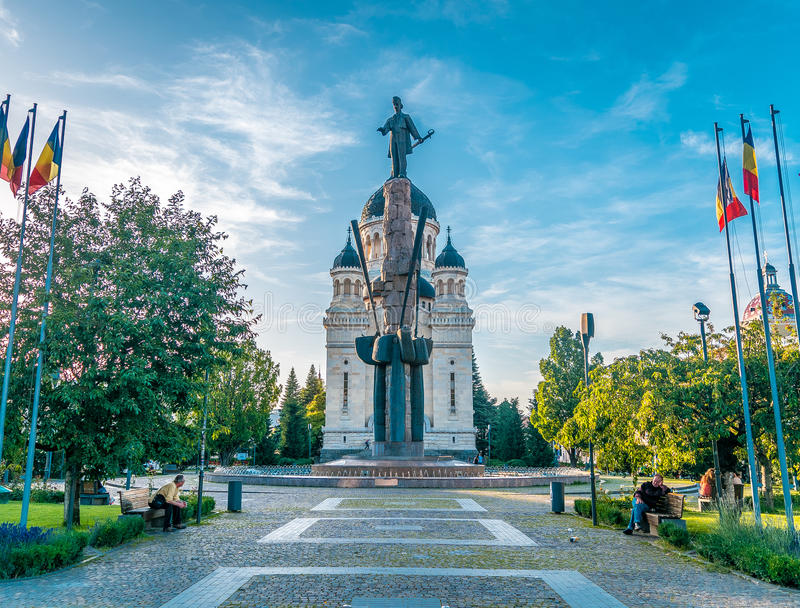 Avram Iancu Square a Cluj Napoca fotografia stock libera da diritti