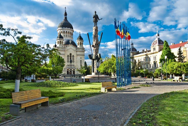 Avram Iancu Square, Cluj-Napoca, Romania fotografie stock libere da diritti