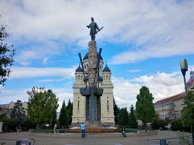 Avram Iancu Square från Cluj-Napoca royaltyfri bild