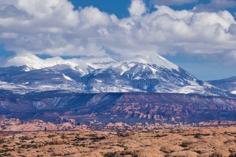 Avril au parc national de voûtes près de Moab images libres de droits