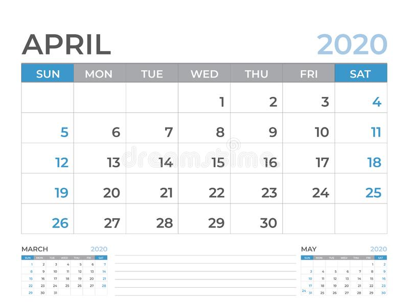 Avril 2020 calibre de calendrier, taille de disposition de calendrier de bureau 8 x 6 pouces, conception de planificateur, débuts illustration stock