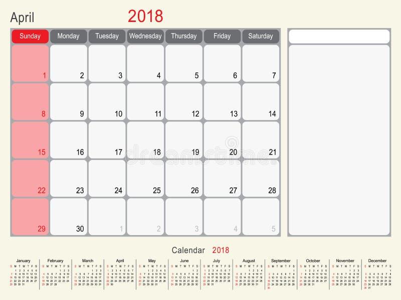 Avril 2018 conception de planificateur de calendrier illustration de vecteur