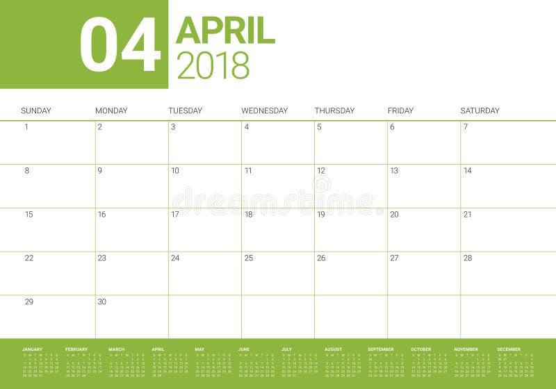 Avril 2018 illustration de vecteur de planificateur de calendrier illustration libre de droits