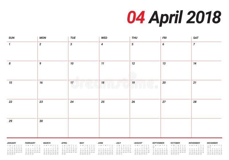 Avril 2018 illustration de vecteur de planificateur de calendrier illustration de vecteur