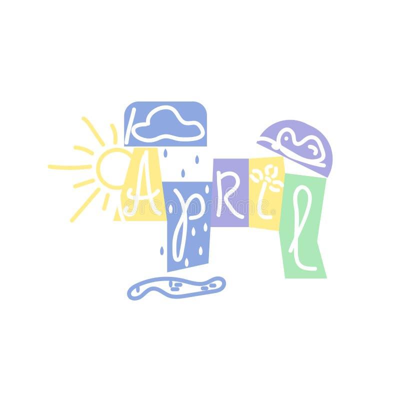 Avril, inscription dans le style scandinave Palette de couleurs en pastel molle, fond blanc illustration libre de droits