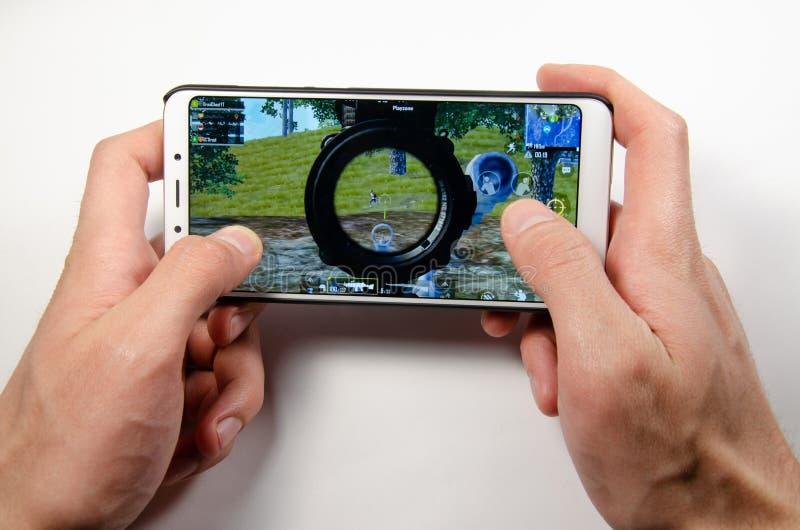 Avril 2019 Kramatorsk, Ukraine Jeux mobiles d'american national standard d'application photos libres de droits