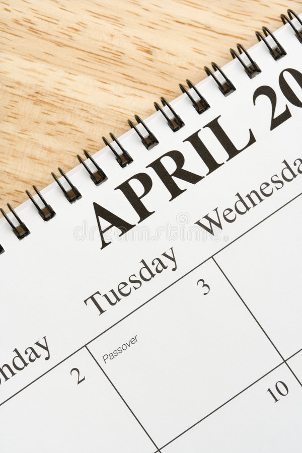 Avril sur le calendrier. photo stock