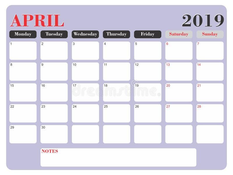 Avril 2019 vecteur de planificateur illustration stock