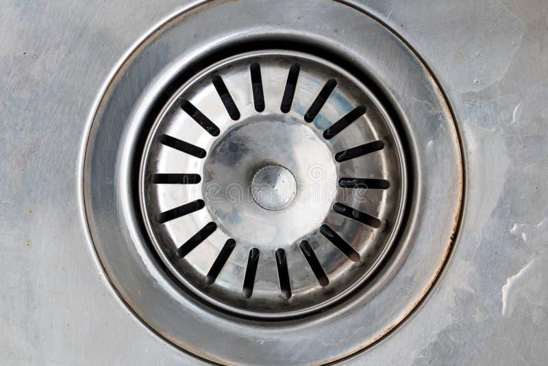 Avrinninghål i metallvask royaltyfri fotografi