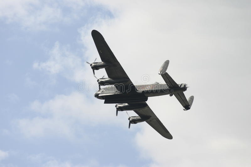 Avro Lancaster bomber in flight. The Lancaster bomber - PA474, acquired by the BBMF in 1973, is one of only two surviving airworthy examples of the type; the stock photo