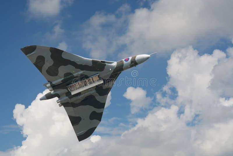 Avro Vulcan bombplan på dess sista skärm i Nederländerna royaltyfri fotografi