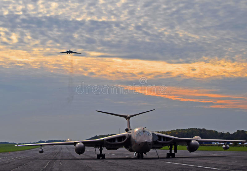 Avro Vulcan en HP-Kampioen royalty-vrije stock afbeeldingen