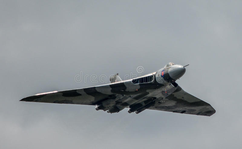 Avro Vulcan XH558. The Spirit Of Great Britain is the only airworthy example of the 134 Avro Vulcan jet powered delta winged strategic nuclear bomber aircraft stock photos