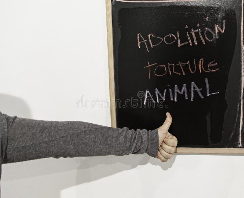 Avskaffa djur tortyr arkivbild