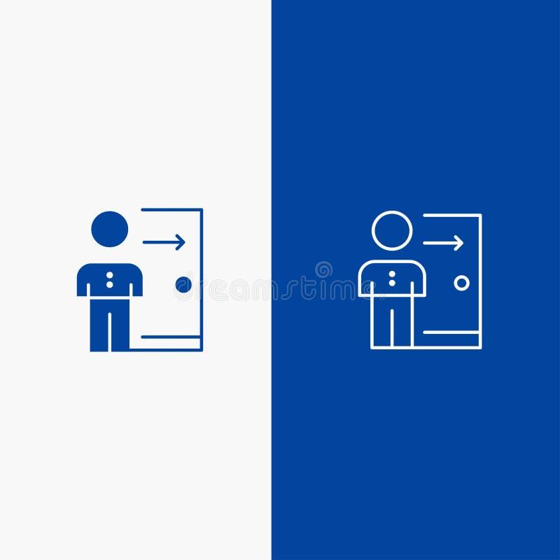 Avskedande, anställd, utgång, jobb, friställning, person, blått för blå för baner för personlig symbol för linje och för skåra fa vektor illustrationer