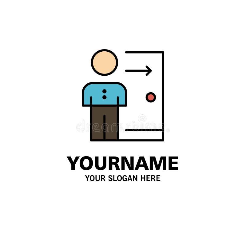 Avskedande anställd, utgång, jobb, friställning, person, personlig affär Logo Template plan f?rg stock illustrationer