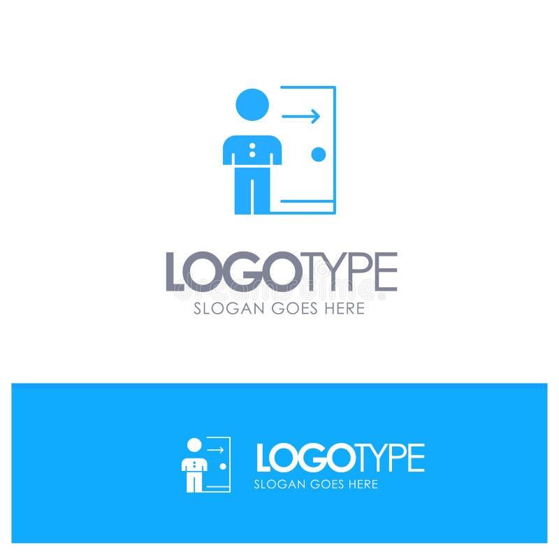 Avskedande anställd, utgång, jobb, friställning, person, personlig blå fast logo med stället för tagline stock illustrationer