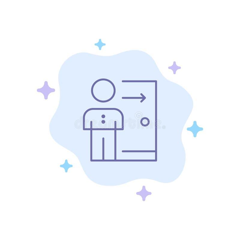 Avskedande anställd, utgång, jobb, friställning, person, personlig blå symbol på abstrakt molnbakgrund royaltyfri illustrationer