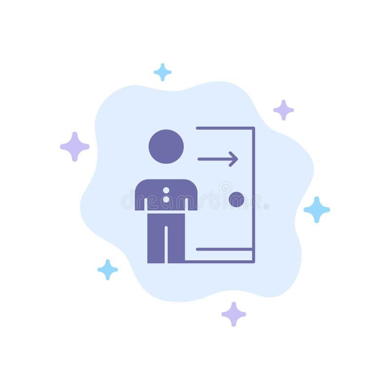 Avskedande anställd, utgång, jobb, friställning, person, personlig blå symbol på abstrakt molnbakgrund stock illustrationer