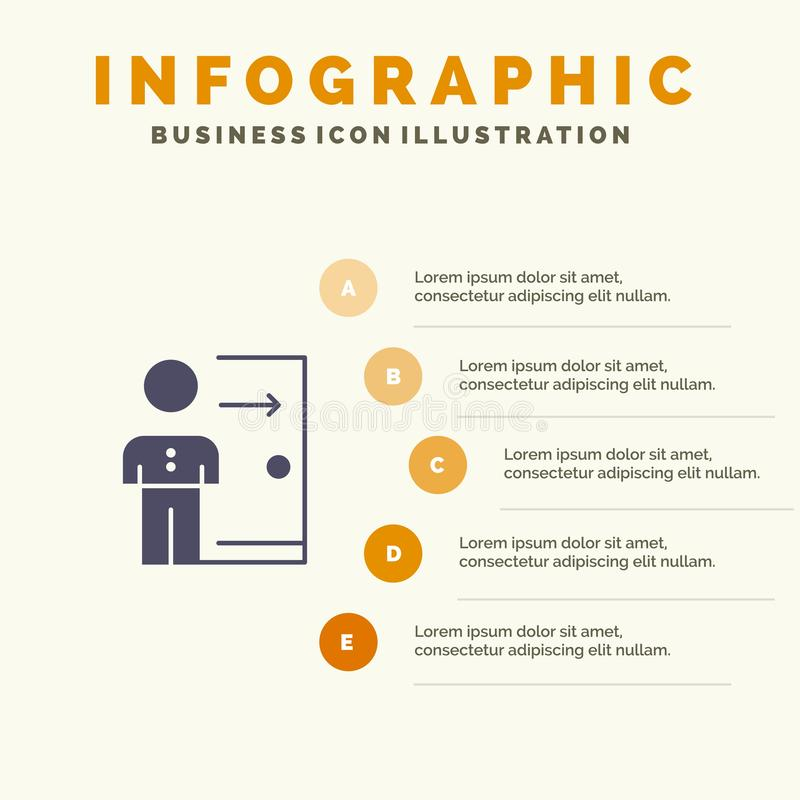 Avskedande anställd, utgång, jobb, friställning, person, personlig fast bakgrund för presentation för symbolsInfographics 5 momen stock illustrationer