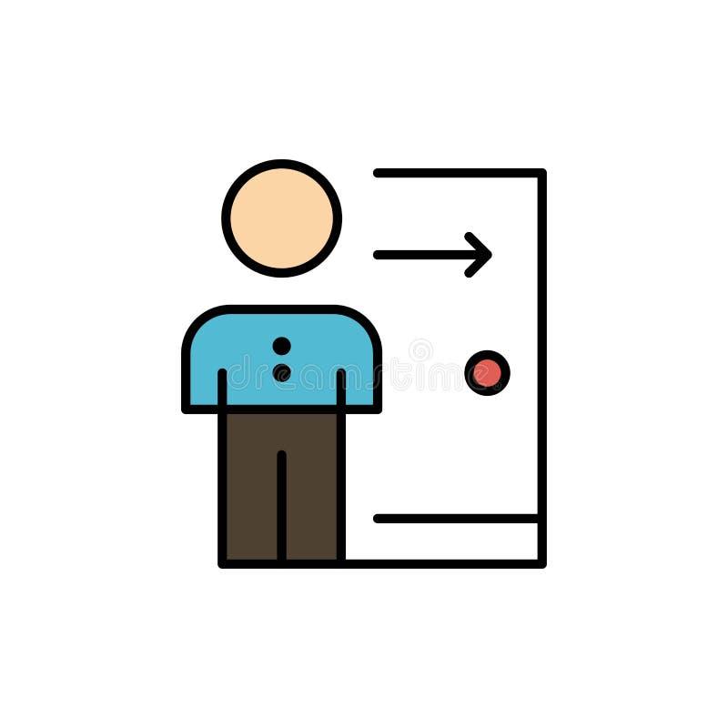Avskedande anställd, utgång, jobb, friställning, person, personlig plan färgsymbol Mall för vektorsymbolsbaner stock illustrationer
