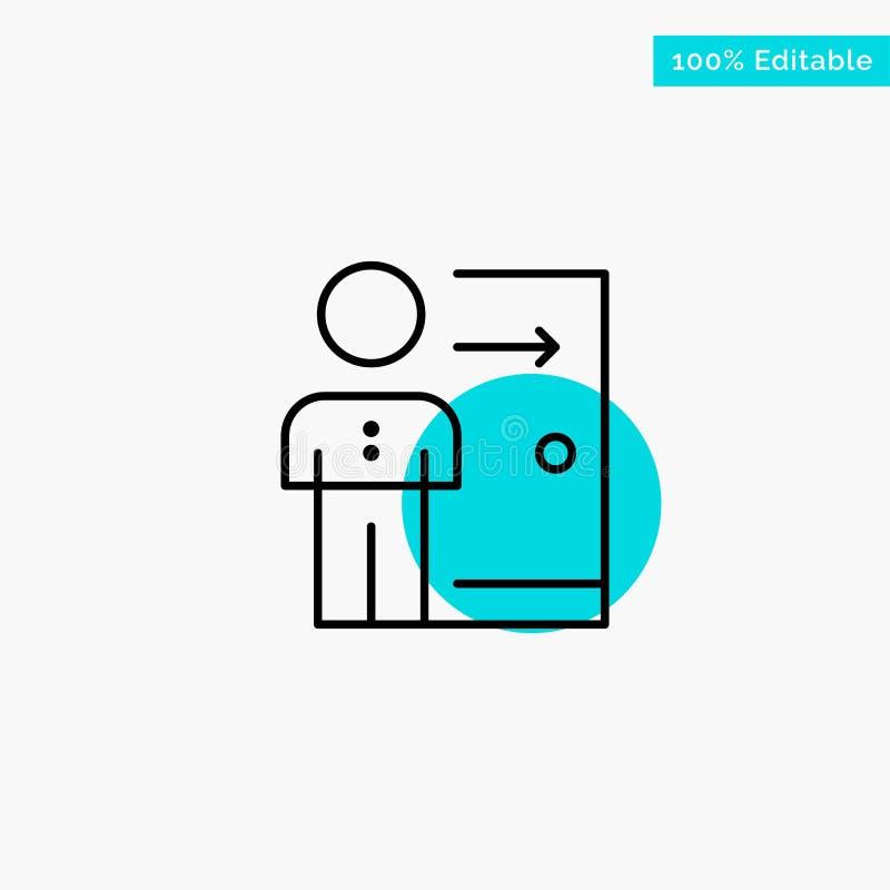 Avskedande anställd, utgång, jobb, friställning, person, personlig symbol för vektor för punkt för turkosviktigcirkel royaltyfri illustrationer
