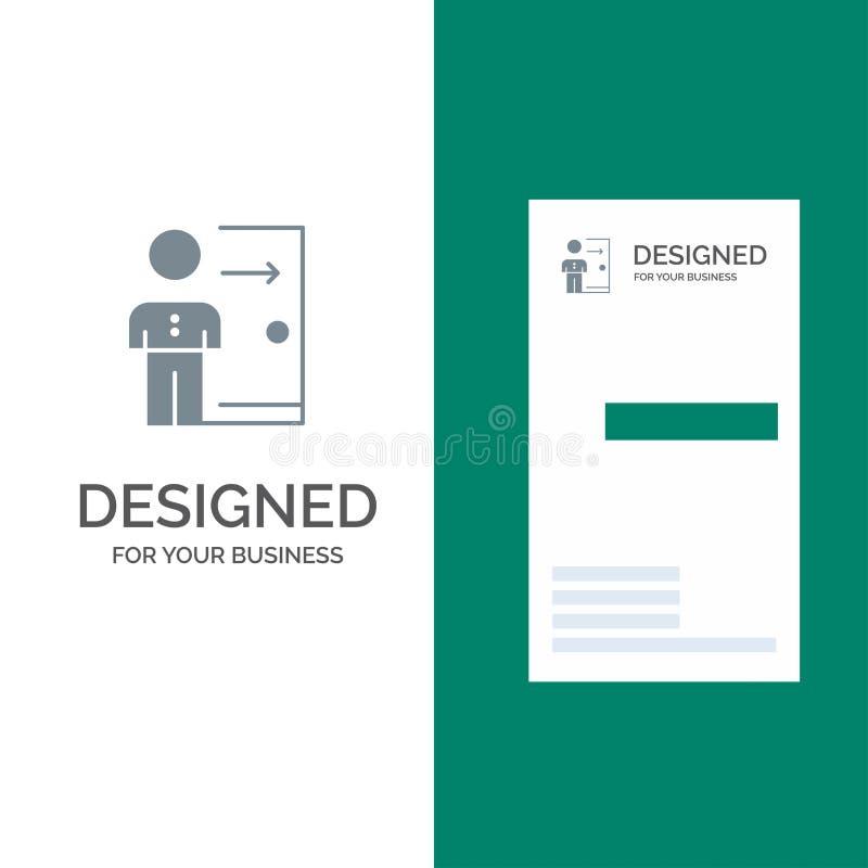 Avskedande, anställd, utgång, jobb, friställning, person, personliga Grey Logo Design och mall för affärskort stock illustrationer