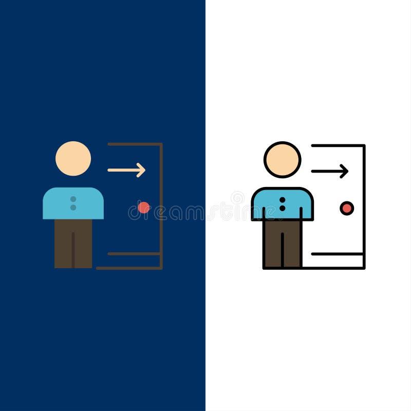 Avskedande anställd, utgång, jobb, friställning, person, personliga symboler Lägenheten och linjen fylld symbol ställde in blå ba royaltyfri illustrationer