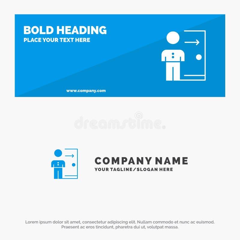 Avskedande, anställd, utgång, jobb, friställning, person, personligt fast symbolsWebsitebaner och affär Logo Template stock illustrationer