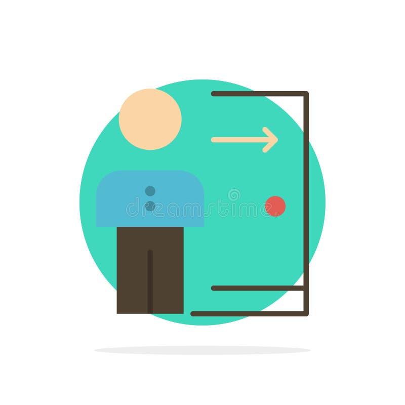 Avskedande anställd, utgång, jobb, friställning, person, symbol för färg för personlig abstrakt cirkelbakgrund plan vektor illustrationer