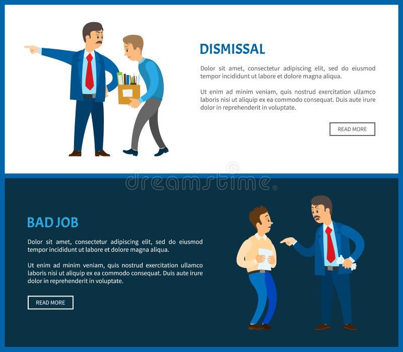 Avskedande av arbetaren för dåliga jobbvektoraffischer stock illustrationer