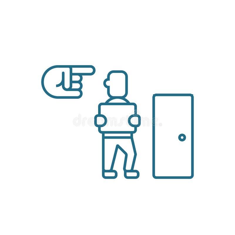 Avskedande av ett linjärt symbolsbegrepp för anställd Avskedande av en anställdlinje vektortecken, symbol, illustration royaltyfri illustrationer