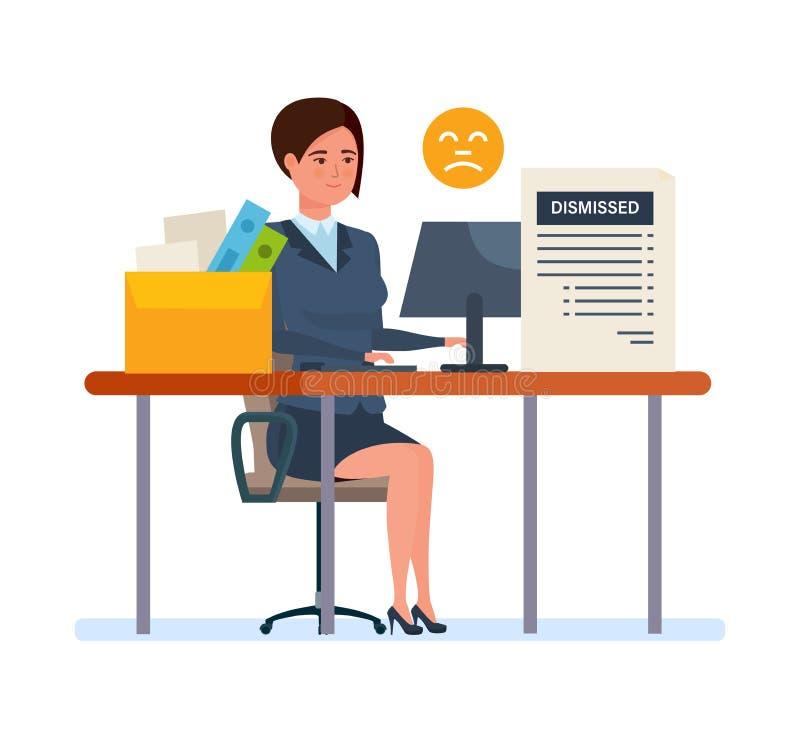 Avskedande från arbete Arbetslös och anställdjobbförminskning för arbetslöshet, för kris, stock illustrationer