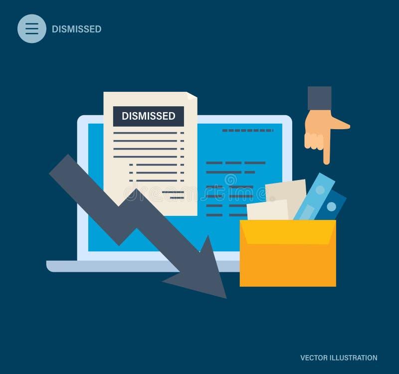Avskedande från arbete Arbetslöshet som är arbetslös, anställdjobbförminskning, sysselsättningsminskning vektor illustrationer