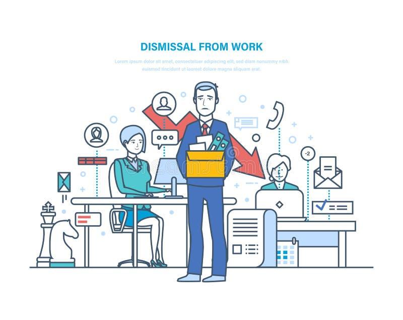 Avskedande från arbete Frigörare av arbetsplatsen som rekryterar den nya personalen, ledning vektor illustrationer